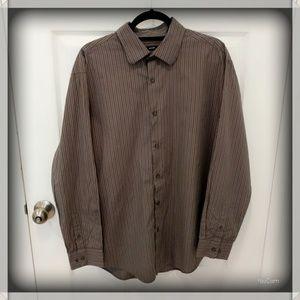 Alfani Pinstripe Dress Shirt - Gray - XL